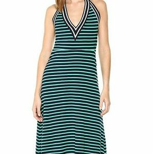 Cynthia Rowley Navy Blue Green Strip Knit Dress